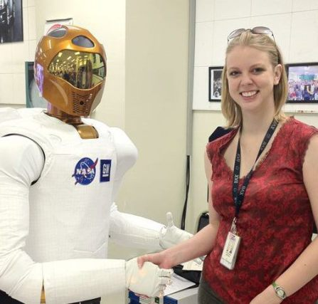 Me shaking hands with Robonaut.